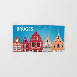 Bruges, Belgium - Skyline Illustration by Loose Petals Hand & Bath Towel