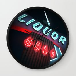 Liquor Deli Vintage Retro Neon Sign Nighttime Wall Clock