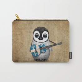 Baby Penguin Playing Quebec Flag Guitar Carry-All Pouch