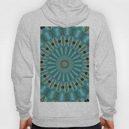 Turquoise Blue Abstract Kaleidoscope Pattern Hoody