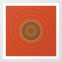Vintage Orange Turquoise Pattern Mandala Art Print