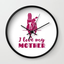 I Love My Mother - Mom and Daughter Wall Clock