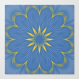 Yellow Sunbeam Mandala Canvas Print