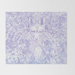 Pastel Purple Hiding Fox Drawing Throw Blanket