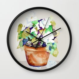 Pots of Petunias Wall Clock