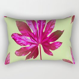 Large pink leaf on a olive green background - beautiful colors Rectangular Pillow
