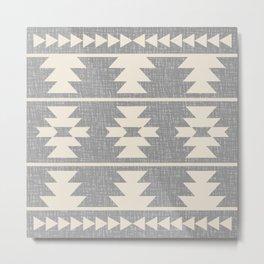 Southwestern Pattern 131 Grey and Beige Metal Print
