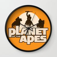 planet of the apes Wall Clocks featuring Planet of the Apes by leea1968