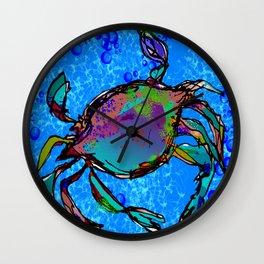 Blue Crab Bubbles Wall Clock