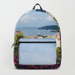 Spanish Coast | Costa Brava Cadaques Coastal Mediterranean Village Riviera Art Backpack