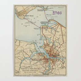 Vintage Map of Norfolk and Portsmouth VA (1919) Poster