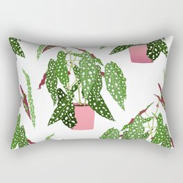 Simple Potted Polka Dot Begonia Plants in White Rectangular Pillow