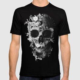 Garden Skull Dark B&W T-shirt