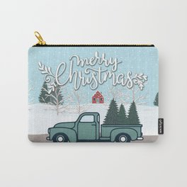 Merry Christmas Vintage Truck with Trees Carry-All Pouch