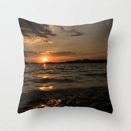 Sunset above the lake Throw Pillow