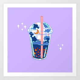 Space boba tea Art Print