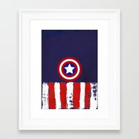 "steve rogers Framed Art Prints featuring Captain ""Steve Rogers"" America by Some_Designs"