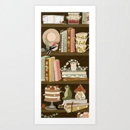 cottage bookshelf Art Print