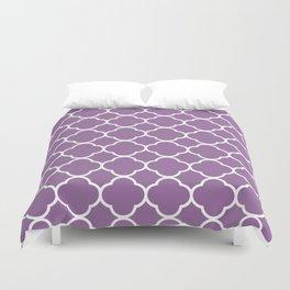 Quatrefoil Shape (Quatrefoil Tiles) - Purple White Duvet Cover