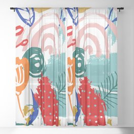 Spring Festival, Botanical, Floral Abstract Sheer Curtain