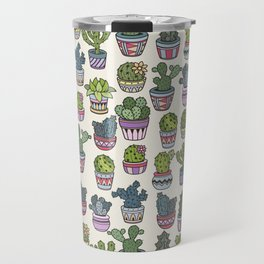Trendy modern bohemian purple green floral cactus pattern Travel Mug
