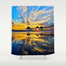 Sunset ~ Huntington Beach Pier CA  11/7/13 Shower Curtain