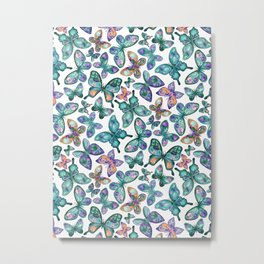 Watercolor Fruit Patterned Butterflies - Forest Green, Orange, Purple - custom request Metal Print