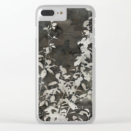 Charcoal Flowers Clear iPhone Case