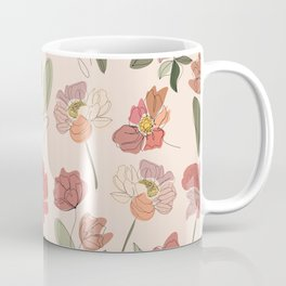 Modern Botanical Line Drawing Flower Pattern  Coffee Mug