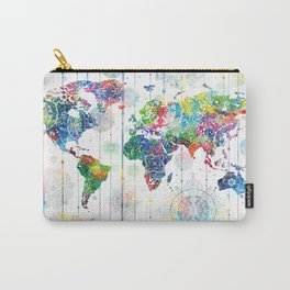 world map mandala white Carry-All Pouch