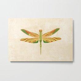 Antique Art Nouveau Dragonfly Metal Print