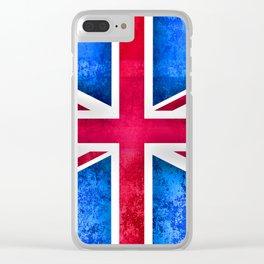 Grunge British Flag Clear iPhone Case
