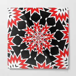 Bizarre Red Black and White Pattern 2 Metal Print