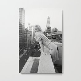 Mari-lyn Monroe on a Balcony in New York , Gift, Home Decor, photography, American icon, actress, Vintage poster, print Metal Print