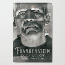 Frankenstein, vintage movie poster, Boris Karloff, horror film, Mary Shelley book cover Cutting Board