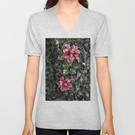 Frosted Hibiscus Unisex V-Neck
