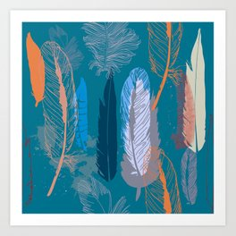 Feather Pattern in Blue Art Print