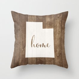 Utah is Home - White on Wood Throw Pillow