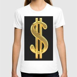 Gold Dollar Sign Black Background T-shirt