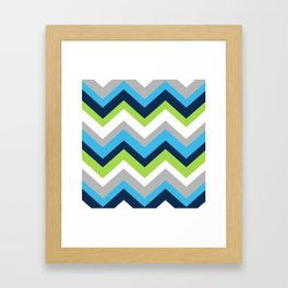 Chevron Pattern Navy Blue Green Gray Framed Art Print