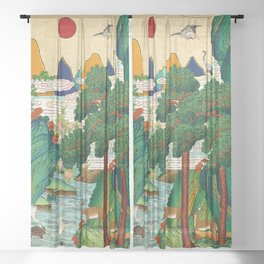 Minhwa: Ten Longevity Symbols A Type Sheer Curtain
