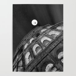 Colosseum in Rome Black and White Poster