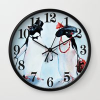 penguin Wall Clocks featuring Penguin by Anna Shell
