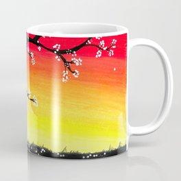 Drawing Sunset and a Blossom Tree Coffee Mug