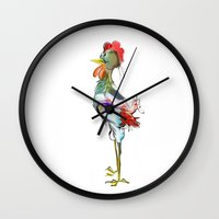 rooster Wall Clocks featuring rooster by tatiana-teni