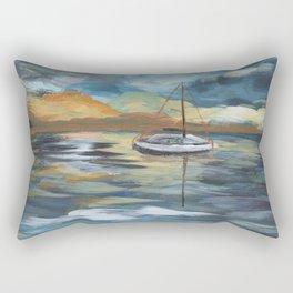 Boat on Blue Seas Rectangular Pillow