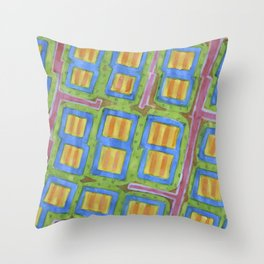Pastel Colored Striped Squares Pattern  Throw Pillow