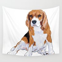 beagle Wall Tapestries featuring Beagle by hadkhanong