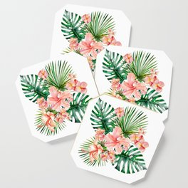 Tropical Jungle Hibiscus Flowers - Floral Coaster