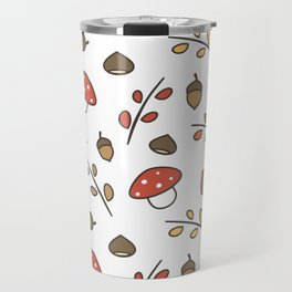 cute lovely autumn pattern with branches, leaves, mushroom, acorns, chestnuts Travel Mug